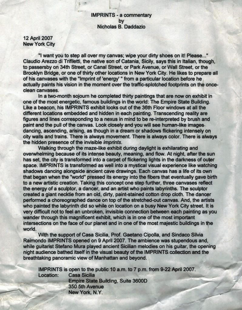IMPRINTS - a commentary by Nicholas B. Daddazio